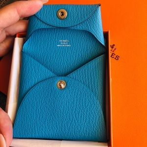 SOLD Hermes Karo coin purse blue turquoise chevre